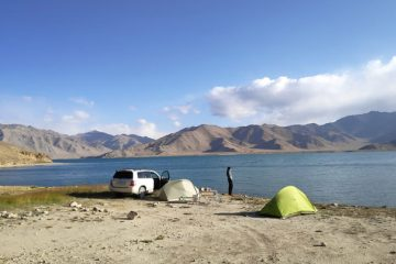 camping at lake yashilkul