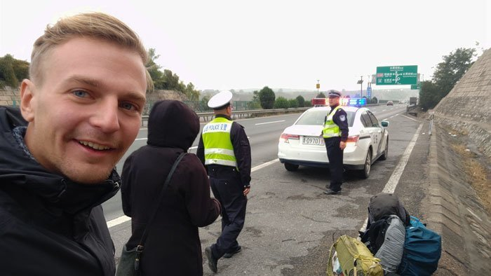 hitchhiking in china with police